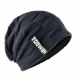 Men's Winter Hats Knitted Wool Beanies Men Hip-Hop Turban Ca