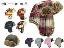 Men's Women's Aviator Bomber Winter Hat Faux Fur Lining With