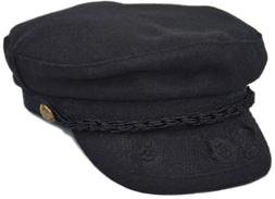 Men's Women's Greek Fisherman Sailor Cap, Fiddler Hat Peaked