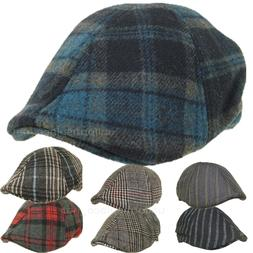 Men's Wool Ivy Hat Ascot Cap Plaid Stripe Duckbill Ivy KBW C