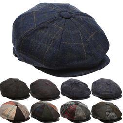 Men's Wool Newsboy Hat, Plaid Applejack Tweed Herringbone Ga
