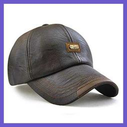 King Star Men Vintage Winter Warm Leather Adjustable Basebal
