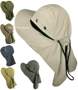Men Women Boonie Hat With Neck Flap Fishing Hiking Outdoor U