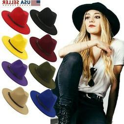 Men Women Felt Belt Buckle Fedora Hats Wide Brim Outback Hat