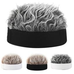 Men Women Novelty Beanie Hat with Spiked Fake Hair Funny Sho