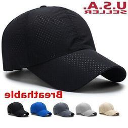 Men Women Summer Golf Mesh Hat Breathable Curved Visor Casua