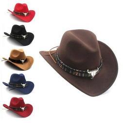 Men Women Retro Western Equestrian Cowboy Hat Autumn Winter