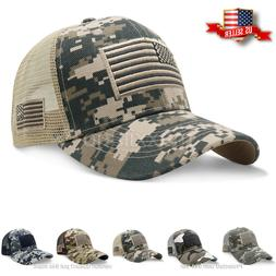 Mens Baseball Cap USA Army American Flag Tactical Trucker Ha