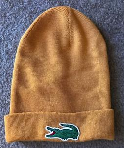 Men's Lacoste Big Croc Mustard Yellow Beanie Skullie OSFA