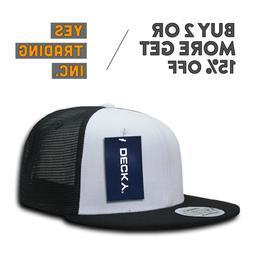 DECKY 1052 MEN'S 6 PANEL FLAT BILL TRUCKER CAP RETRO CAPS SN