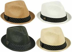 Mens Fedora Straw Mesh Porkpie Stingy Brim Dress Trilby Cuba