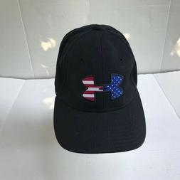 Under Armour Mens Hat Heat Gear Black With American Flag Log