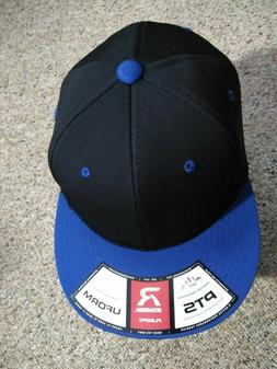 Mens NEW Richardson Flexfit Curved Bill Hat Black/Blue PTS 2