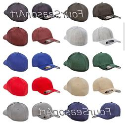 Flexfit Mens Structured Wool Fitted Baseball Cap Ball Hat S/