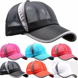 Mens Womens Mesh Curved Visor Baseball Cap Tennis Golf Sport
