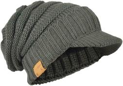 Mens Womens Thick Fleece Lined Knit Newsboy Cap Slouch Beani