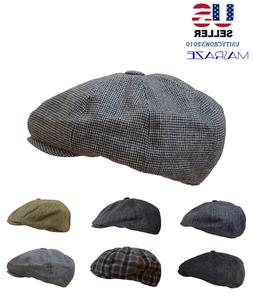 Mens Wool Cabbie Newsboy Hat Gatsby Cap  Winter Driving Golf