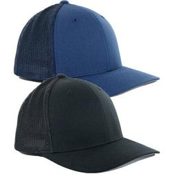 "Flexfit ""Mesh Trucker"" Precurved Hat Men's Blank Stretch Bla"