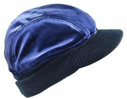 MG Men's 4 Panel Velour Winter Cap Beanie Visor Hat Blue