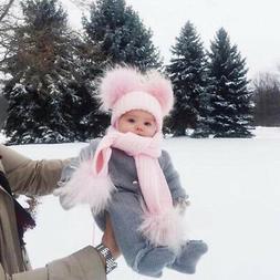 Mom&Newborn Baby Boy Girls Double Fur Pom Bobble Knit Beanie