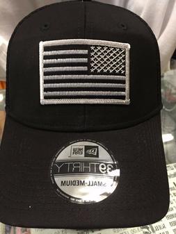 New Era NE1020 Black FlexFit Hat/Cap With Subdued Grey Ameri