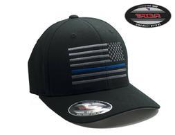 NEW American Thin Blue Line Flag FlexFit # 5001 Black Hat -