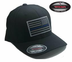 NEW American Thin Blue Line Flag Patch FlexFit # 5001 Black