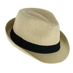 New Angela & William Paper Straw Fedora with Black Band