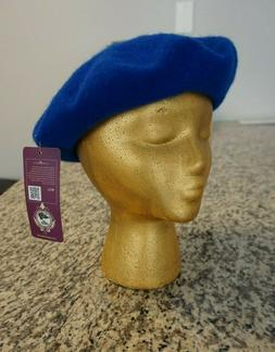 New Angela & William Royal Blue 100% Wool Beret Women's