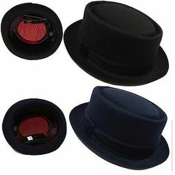 New Cool Men & Women Solid BLack Porkpie Fedora Trilby hat w
