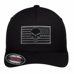 NEW Grey Punisher Flag Patch FlexFit # 5001 Black Hat - Free