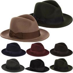 New Men's Pure Wool Fedora Hat With Satin Lining, Flat Brim