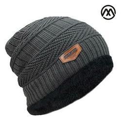 New Men's Winter Knitted Black Hats Fall Hat Thick Warm Bonn