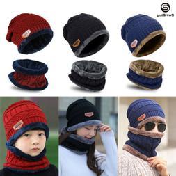 New Men Women Winter Knit Baggy Hat Scarf Set Fleece Warm Be