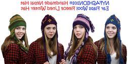NEW! NYFASHION101® Nepal Handmade Ear Flaps Wool Fleece Lin