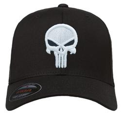 NEW Punisher Puff Embroidered FlexFit # 5001 Black Hat - Fre