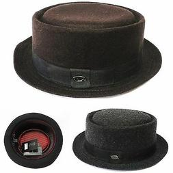 new solid color Pork Pie hat wool blend Crushable trilby fed