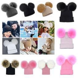 Newborn Kids Baby Boy Girl Double Fur Pom Hat Winter Warm Kn