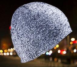 Night Running Women Men Adult Reflective Beanie Hat Knit Cap