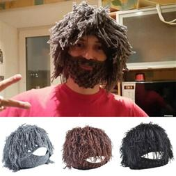 Novelty Men's Messy Hair Beard Knit Winter Hat Male Moustach