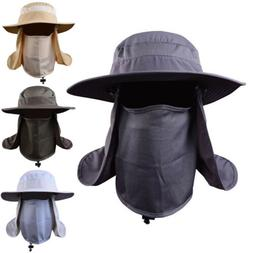 Outdoor Fishing Hat Sun Protection Neck Face Flap Cap Wide B