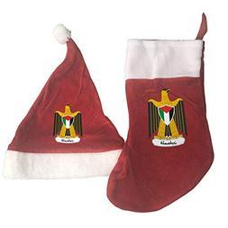 Palestine National Emblem Santa Hat & Christmas Stocking Hol