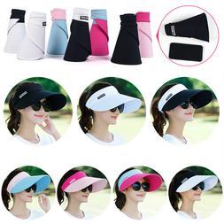 Pink Womens Girls Sun Visor Hats Beach Golf Wide Brim Hats L