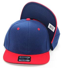 PLAIN SNAPBACK HAT CAP COLOR NAVY RED ADJUSTABLE POLYESTER O