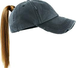 PONY-001 BLK Ponytail Messy High Bun Headwear Adjustable Cot