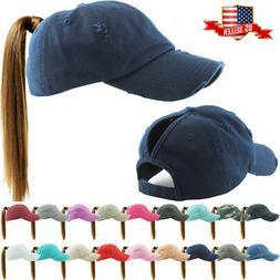 Ponycap Messy High Bun Ponytail Adjustable Solid Cotton Wash