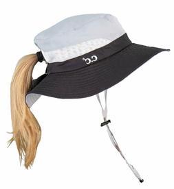 Funky Junque Ponytail Bucket Hat Upf 50+ Messy Bun Sun Hat W