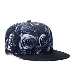 Premium Floral Black White Rose Twill Adjustable Snapback Ha