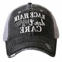 Race Hair Don't Care Women's Trucker Hats Caps by Katydid