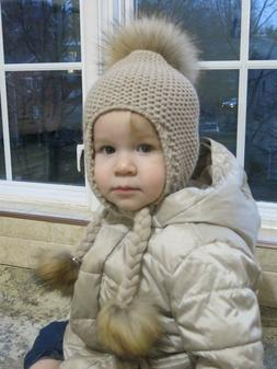 REAL FUR POMPOM BOYS GIRLS BABY HAT KNITTED FOR THE WINTER W